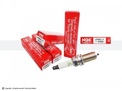 شمع پایه بلند ان-جی-کی-NGK اصل ژاپن مناسب برای پژو 206 تیپ 6,5/پژو 206 V8,V9 SD/رانا/پژو207/پژوTU5 405/پارسTU5/سمندTU5 (4 عدد) شماره فني 91823-LFR6c-11