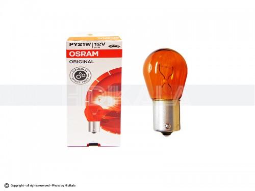 لامپ تک کنتاکت نارنجی (خار نزدیک) اسرام-OSRAM اصل آلمان 12V-PY21W (رنگ استاندارد)