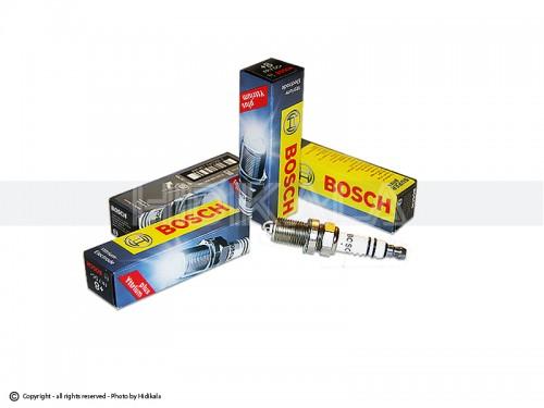 شمع پایه کوتاه تک پلاتین خط مشکی بوش-BOSCH اصل روسیه مناسب برای پژو405 GLX/پراید/پژو 206تیپ3,2/پژو206 V6,V19,V20 SD/ال90/تیبا/سمند/پارس/ریو/دنا/مگان/زانتیا (4 عدد) شماره فني FR7DC+ (+8) PLUSYTTRIUM