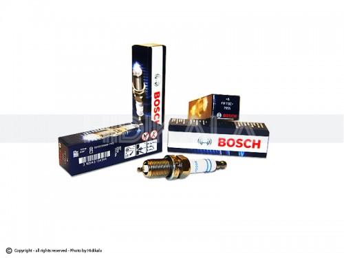 شمع پایه کوتاه تک پلاتین خط آبی بوش-BOSCH اصل روسیه مناسب برای پژو405 GLX/پراید/پژو 206تیپ3,2/پژو206 V6,V19,V20SD/ال90/تیبا/سمند/پارس/ریو/دنا/مگان/زانتیا (4 عدد) شماره فني FR7DC+7955(+8)